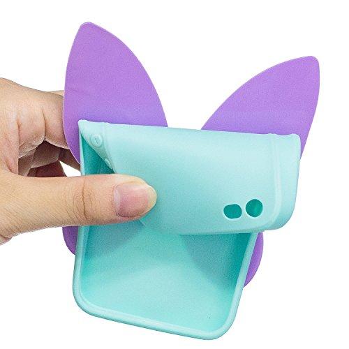 iPhone 5 5S SE Hülle , Leiai 3D Schmetterling Leicht TPU Weich Tasche Schutzhülle Silikon Etui Handyhülle Stoßdämpfende Schale Fall Case Shell für Apple iPhone 5 5S SE