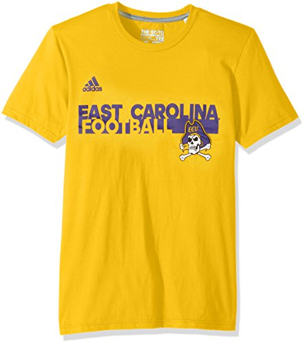 adidas NCAA East Carolina Pirates Adult Men Sideline Grind Football Go-to Performance S/Tee, Large, Collegiate Gold