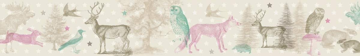 Wanddeko Baby//Kinder Anna Wand Bord/üre selbstklebend Forest Animals Wandbord/üre Kinderzimmer//Babyzimmer mit Wald-Tieren in Beige-T/önen Wandtattoo Schlafzimmer M/ädchen /& Junge