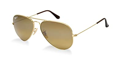 8f3f308b4b Image Unavailable. Image not available for. Color  Ray Ban RB3025 001 57 58  Gold Brown Polarized Large Aviator ...