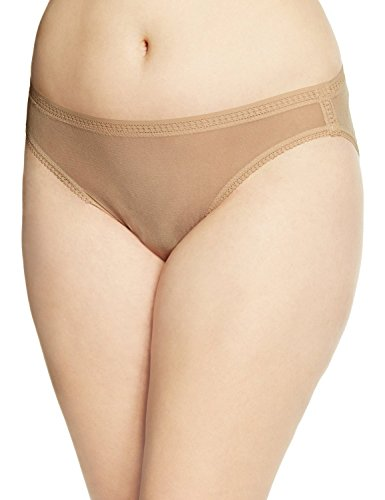 OnGossamer Women's Plus-Size Gossamer Mesh Plus Hi Cut Brief Panty, Skin, 1X