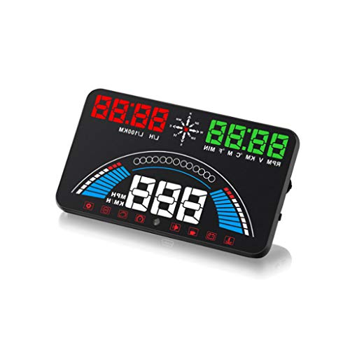 ZHAO YING HUD Two in One GPS OBD Car Driving Speed Fuel Consumption Meter Head-up Projection Head Up Display (Color : Black)