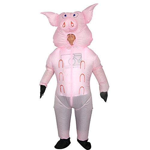 bestsight Inflatable Pink Pig Costume Adult Fancy Dress Cosplay (Shipping by DHL) (Pink (Pig Costumes Adult)