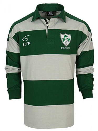 Irish Long Sleeve Striped Rugby Jersey Forest Green and Grey (XL)