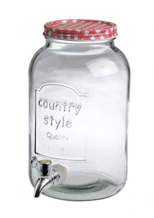 Country Style Party Barril dispensador de bebidas con grifo (para aprox. 3, 5 L: Amazon.es: Jardín