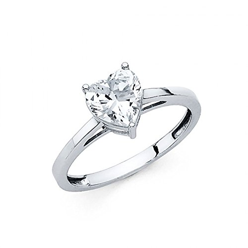 American Set Co. 14k White Gold Heart CZ Cathedral Solitaire Engagement Ring