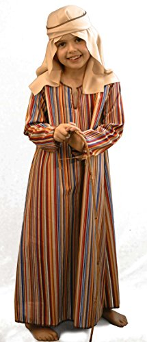 CL COSTUMES Nativity-Bible-World Book Day Striped Shepherd/Joseph Child's Fancy Dress Costume - All Ages (Age 9-10) -