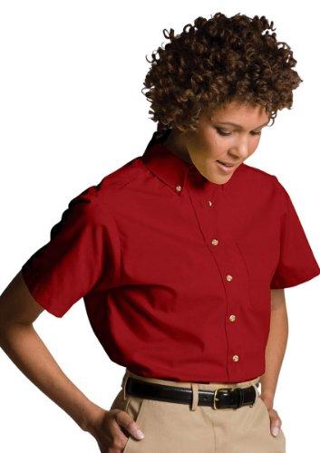 Edwards Garment Women's Button Down Collar Poplin Shirt, RED, XXX-Large (Edwards Short Sleeve Blouse)