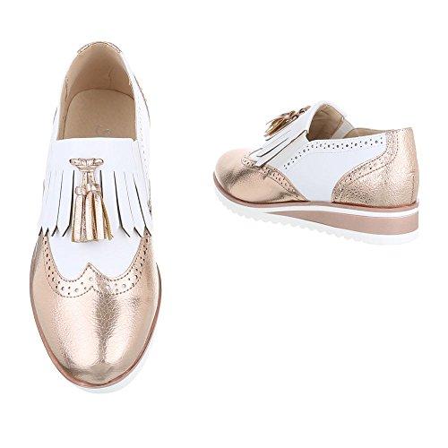 Ital Mujer Weiß Con 6592 design p Zapatos Planos Cordones Gold XUXwvq