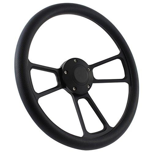 - 5-bolt Black Steering Wheel 14 Inch Aluminum with Black Vinyl Wrap and Horn