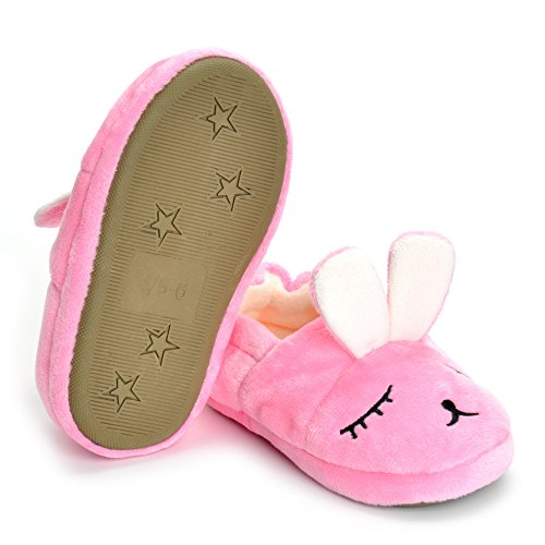 Toddler Girls Pink Bunny House Slippers Warm Cartoon Cute Rabbit Animals Shoes Rubber Sole by MK MATT KEELY (Image #2)