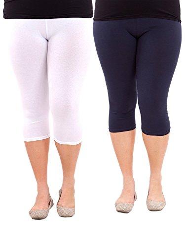 Zando Women's Lightweight 3/4 Length Basic Plus Size Breathable Leggings