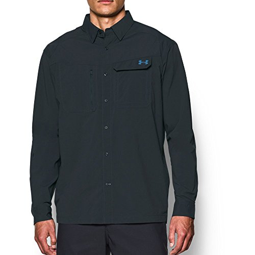 Under Armour Men's Fish Hunter Solid Long Sleeve, Anthracite/Urban Blue, Medium