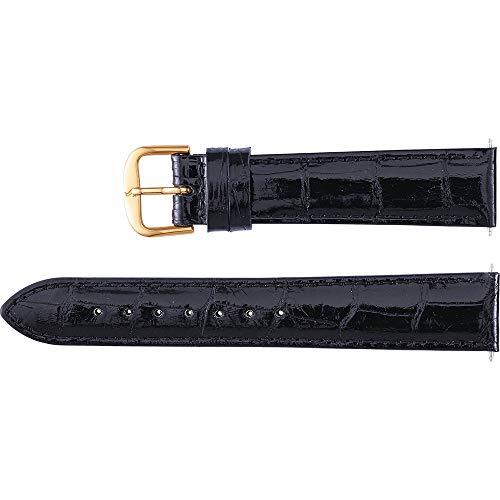 Men's 20 mm Regular Black Genuine Louisiana Alligator Padded Watch -