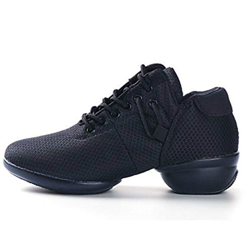 Women's Mesh Jazz Shoes Lady Girls Modern Split-Sole Dance Sneakers for Ballroom Breathable Lightweight (EU 38& 6 B(M) US Womens, B Black) (The Best Hip Hop Dancer)