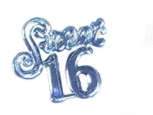 144 pc Sweet 16 Charms Embellishment Number for Capias Favors Acrylic Confetti (Blue)