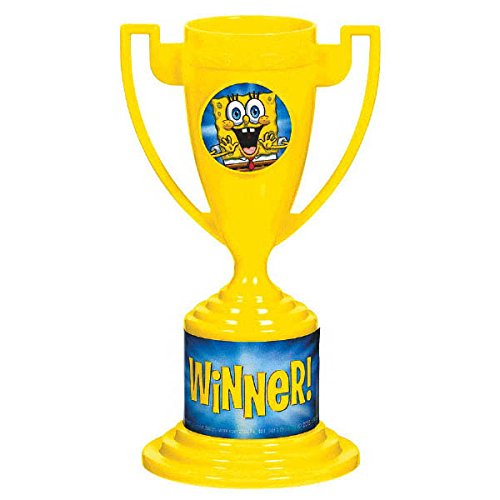 Amscan Sponge-Tacular Spongebobtrophy Cups Party Prizes,5'' x 3''8 in a Package, 6 Packs Trophy, Yellow, 5'' x 3''