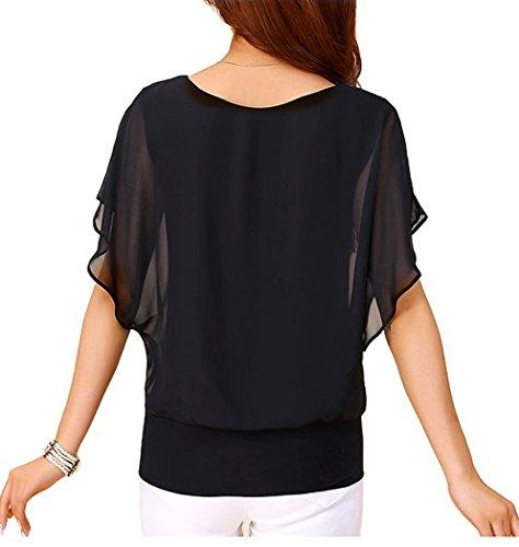 VIISHOW Women's Loose Casual Short Sleeve Chiffon Top T-Shirt Blouse 2