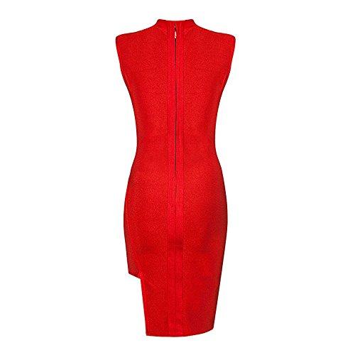 Keyhole HLBandage Kleid Rot Verband Kunstseide ärmel Seiten Schlitz Bwwd6q