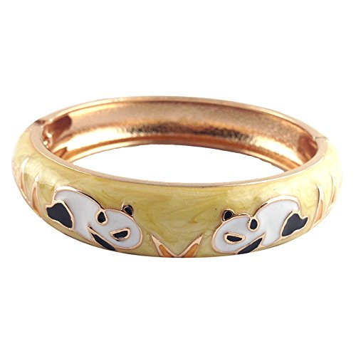 UJOY Indian Enamel Jewelry Gold Plated Panda Bracelet Handmade Multi-Color Spring Wide Cuff Bangle 55C43 Yellow