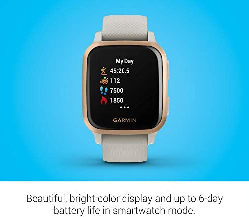 Garmin Venu Sq Music, GPS Smartwatch with Bright Touchscreen Display, Features Music and Up to six Days of Battery Life, Rose Gold with Tan Band (010-02426-01)