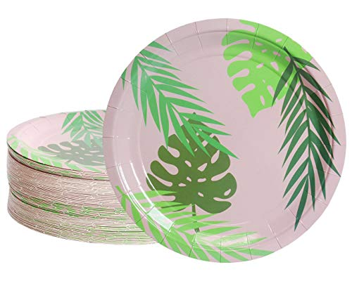 Blue Panda Disposable Plates - 80-Count Paper Plates, Tropical Party Supplies for Appetizer, Lunch, Dinner, and Dessert, Birthdays, Palm Leaves Design with Pink Background, 9 Inches in Diameter ()