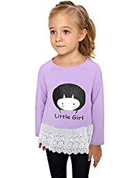 Dongba Fashion Casual Kids Girl Round Neck Long Sleeve Embroidery Patchwork T Shirt Tops Long Sleeve Tops