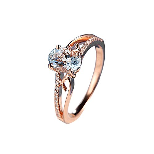 YOMXL Exquisite Wedding Rings,Women Oval Ring Rose Gold Oval Diamond Jewelry Ring Bride Engagement Ring Valentine Gift