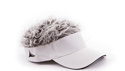 Flair Hair Mens Visor with Gray Wig One Size Fits Most White, ()