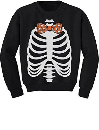 - Halloween Costume Skulls Bow Tie Skeleton Xray Rib Cage Toddler/Kids Sweatshirt 2T Black