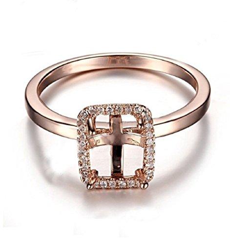 GOWE 8x6mm Cushion Cut Solid 10K Rose Gold Semi Mount Real Halo Diamonds Wedding Ring Diamonds Jewelry Engagement Ring