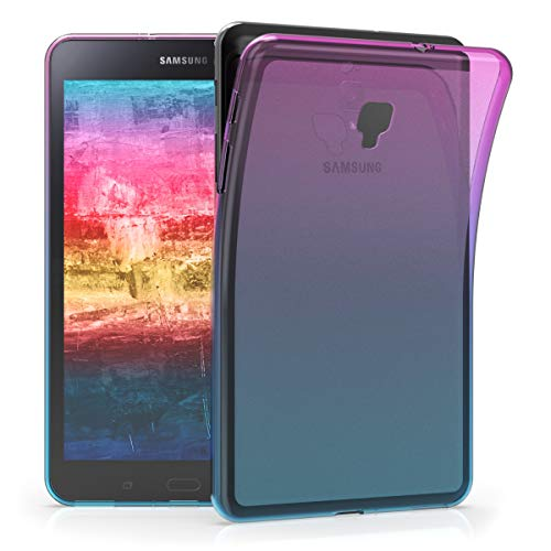 kwmobile TPU Silicone Case for Samsung Galaxy Tab A 8.0 (2017) - Soft Flexible Shock Absorbent Protective Cover - Dark Pink/Blue/Transparent (Samsung Galaxy Tablet Gel Case)