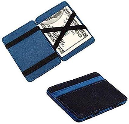 Saisiyiky Grind mini portafoglio//porta carte di credito magico pieghevole doppio colore neutro Free size blu in pelle PU