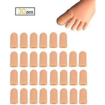 30 Pieces Gel Toe Caps, Silicone Toe Protector, Toe Covers for Big Toe, Protect Toe from Rubbing, Ingrown Toenails, Corns, Blisters, Hammer Toes and Other Painful Toe Problems (Large,Beige)
