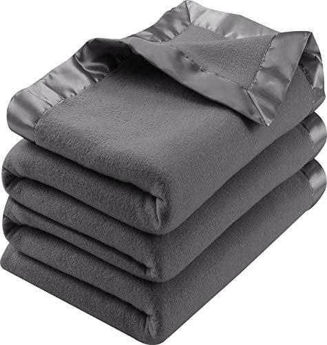 Utopia Bedding Polar Fleece Premium Bed Blanket with Sateen Ribbon Edges - Extra Soft Brushed Microfiber - (Queen, Grey)