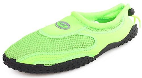 Adjustable Neon Men's Water Mesh Rubber Stretch Sport Shoe Nylon Outdoor Sole Enimay Green 0ZqPU