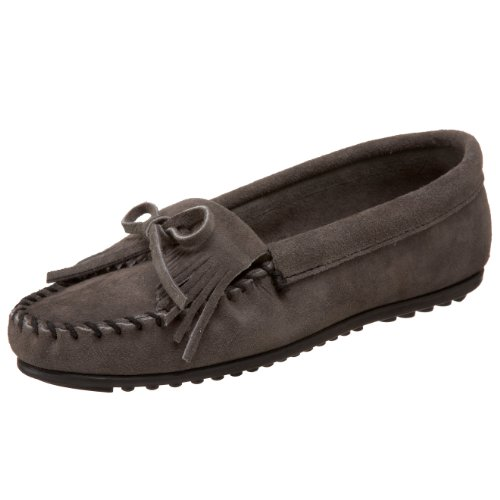 - Minnetonka Women's Kilty Suede Moccasins Wide Grey 5 M US