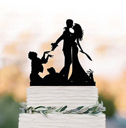 Zombie Wedding Cake Topper, Halloween Couple Silhouette Wedding