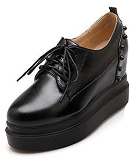 IDIFU Women's Dressy Studded High Heels Wedge Platform Shoes Creepers Sneakers Lace Up Black 7 B(M) US