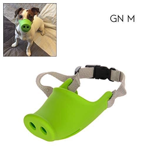 Hihey Dog Tough Muzzle Pig Nose Shape Silicona para Mascotas con Cuerda Ajustable para Perros pequeños y medianos…