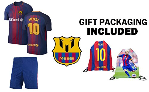 Jersey Kit (Fan Kitbag Messi #10 Barcelona Youth Home Short Sleeve Soccer Jersey & Shorts Kids Premium Gift Kit ✮ BONUS Messi #10 Picture Backpack (Short Sleeve, YM 8-10 Years))