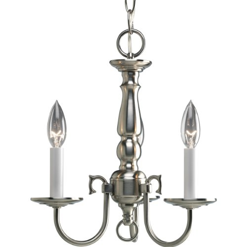 Progress Lighting P4354-09 3-Light Americana Chandelier with Delicate Arms and Decorative Center Column and Candelabra Lamps with Chain and Ceiling Mountings Included, Brushed Nickel