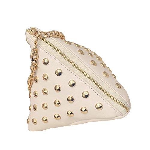 Bandoulière Chaîne à Mini Main Rivet en Beige Coin Cute Embrayages avec Cuir Triangle PU Sac Hrph Petit Sac BYqHnOS