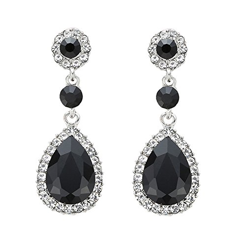 Gorgeous Austrian Cut Crystal Rhinestone Pierced Wedding Bridal Teardrop Drop Dangle Earrings ()