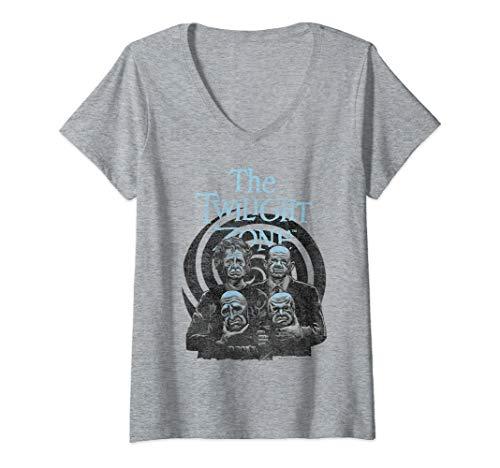 Womens Twilight Zone Take Off The Masks Swirl V-Neck T-Shirt ()