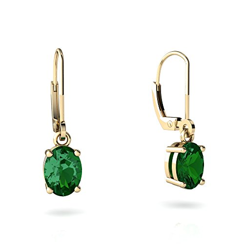 14kt Yellow Gold Lab Emerald 8x6mm Oval Lever Back Earrings 14kt Gold 8x6 Emerald