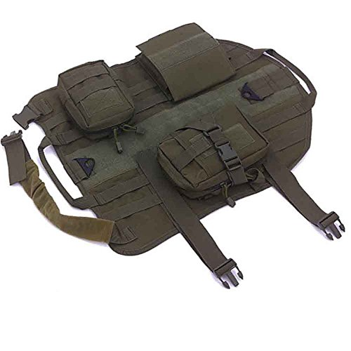Dog Tactical Military Service Training Vest Molle Dog Harness with 3 Detachable Pouches Outdoor Pet Supplies (XL, Army Green)
