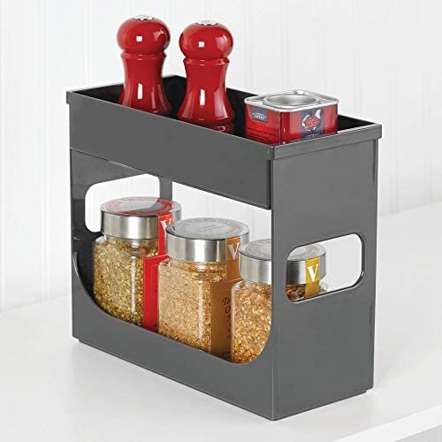 Organizador de especias transparente con dos niveles Especiero cocina mDesign Mantenga sus especias o t/és ordenados con este mueble especiero