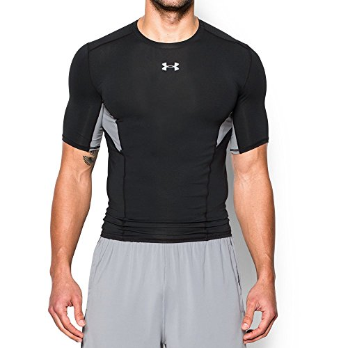 Under Armour Mens CoolSwitch Short Sleeve Compression Shirt, Black /Reflective, Medium