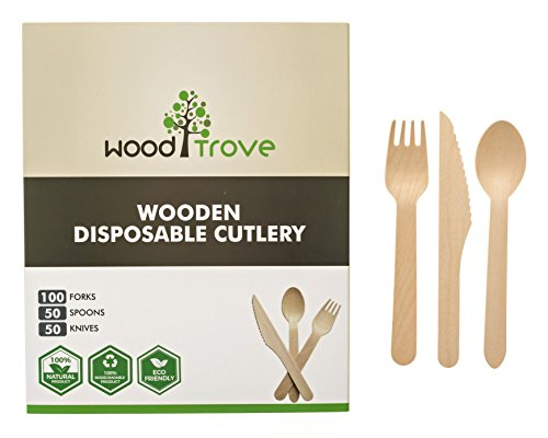Wooden Disposable Utensils Set 100 Forks 50 Spoons 50 Knives Wood Cutlery Eco Friendly Compostable Biodegradable Silverware Party Flatware Kitchen Serving Eating Picnic Wedding Green Natural -